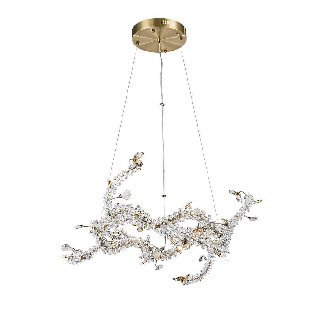 Living Design Lustre En Forme De Branches Garnies De Cristal Clair Et Champagne Perlés Avec Base Métal Bronze