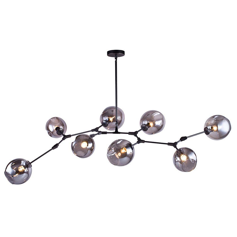Living Design Lustre Noir Mat 8 Lumières Avec Teintes De Verre Fumée Dentée