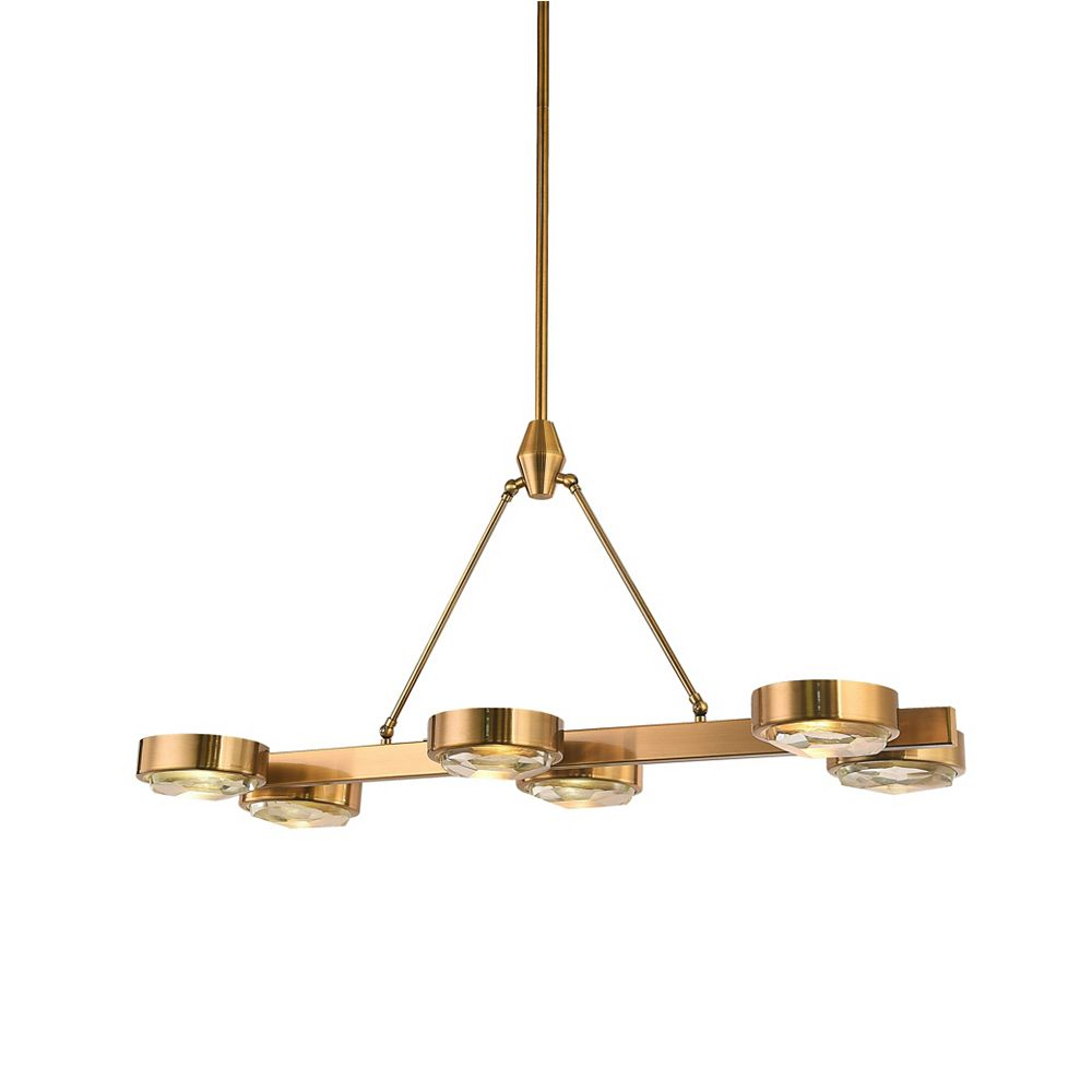 Living Design 6-Light Rectangular Bronze Frame Chandelier With Distorted Clear Crystal Covers