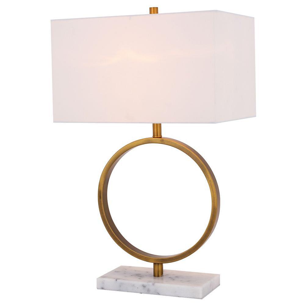 Living Design Lampe De Table En Or À 1 Lumière De 27,5 Pouces Avec Abat-Jour En Boîte Blanc