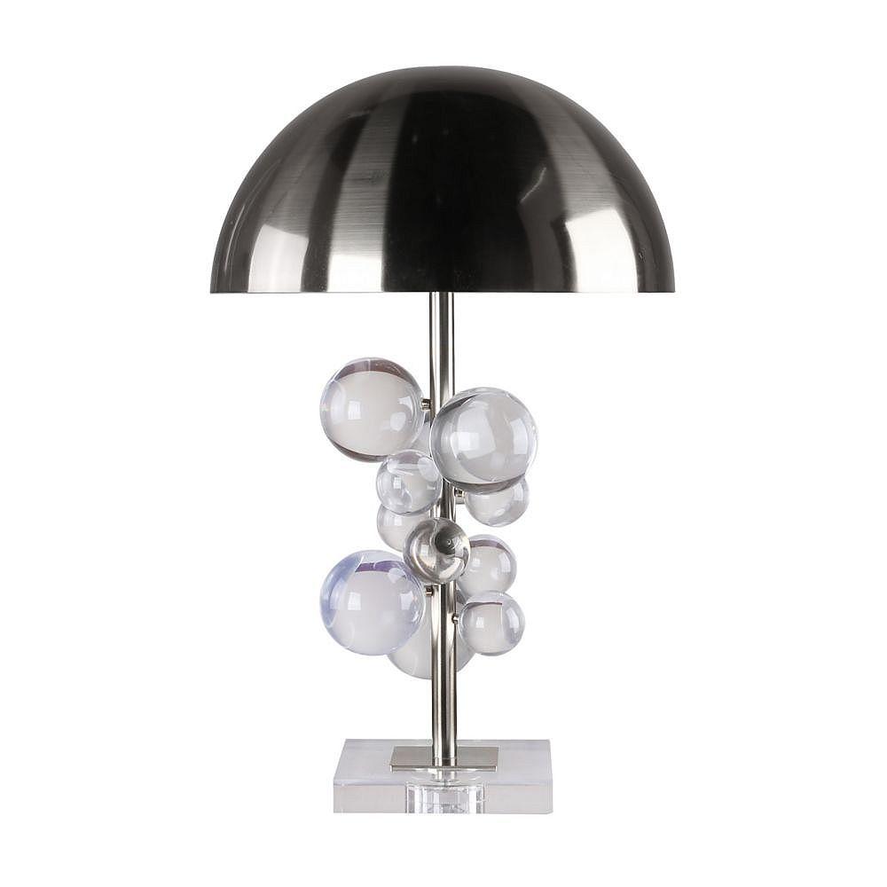 Living Design Lampe De Table Chrome À 1 Lumière 22 Pouces Avec Abat-Jour Métallique