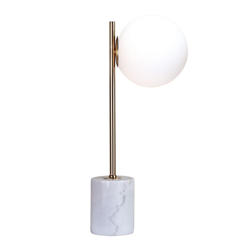 Living Design Lampe De Table Dorée À 1 Lumière 23 Pouces Avec Abat-Jour En Verre Blanc Lait
