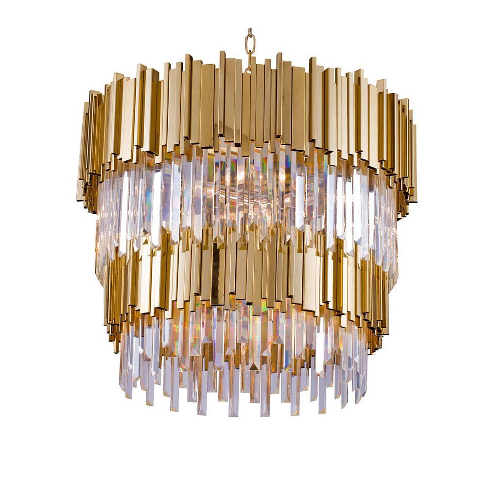 Living Design Lustre À Deux Paliers De Forme Circulaire Avec Tiges Or Et Cristal Clair (12 Lumières)