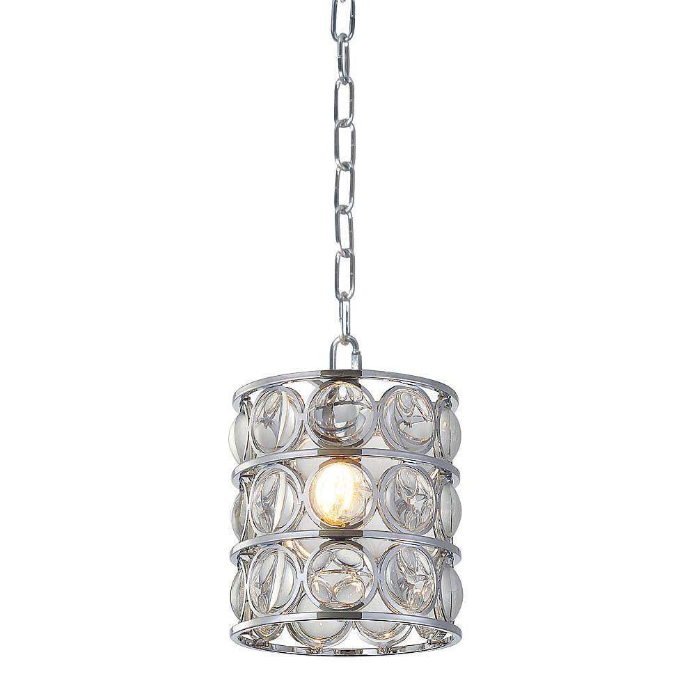 Living Design Luminaire Suspendu Simple En Métal Chrome Et Verre Clair Grossisant (1 Lumière)