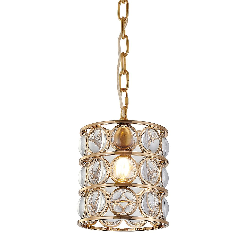 Living Design 1-Light Gold Single Pendant Light With Clear Magnifying Glass And A Metal Frame
