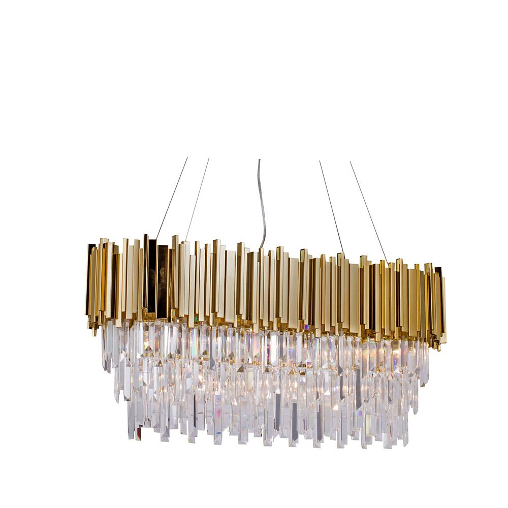 Living Design 7-Light Gold Chandelier With Clear Crystal Drops And An Oval Block Frame