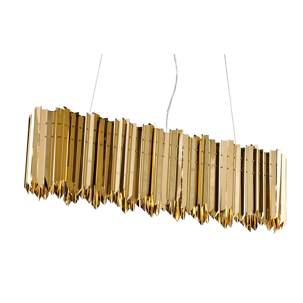 Living Design 6-Light Gold Chandelier With Stainless Steel Oval Spike Frame