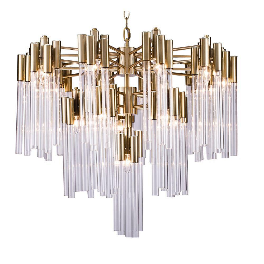 Living Design À Trois Paliers Gold Frame Chandelier Avec Tubes De Verre Clair (16 Lumières)