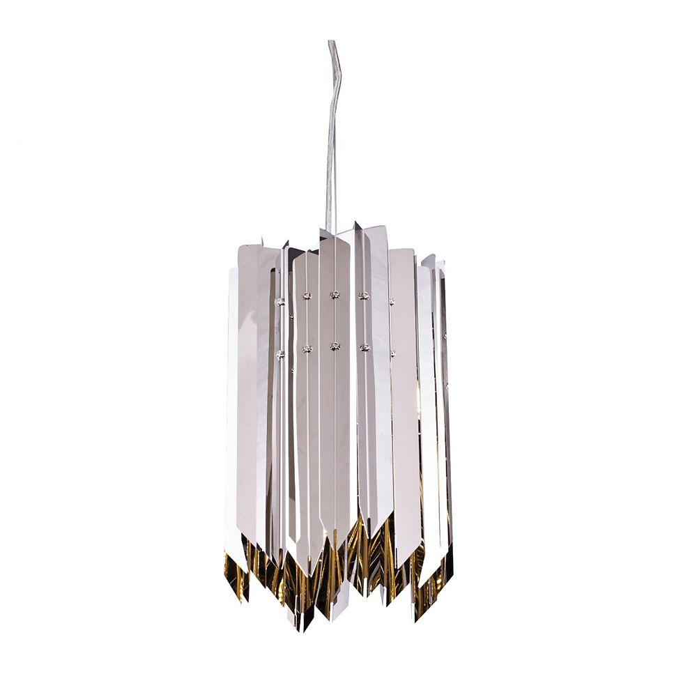 Living Design Pendentif Nickel Brillant 1 Lumière Avec Cadre En Acier Inoxydable