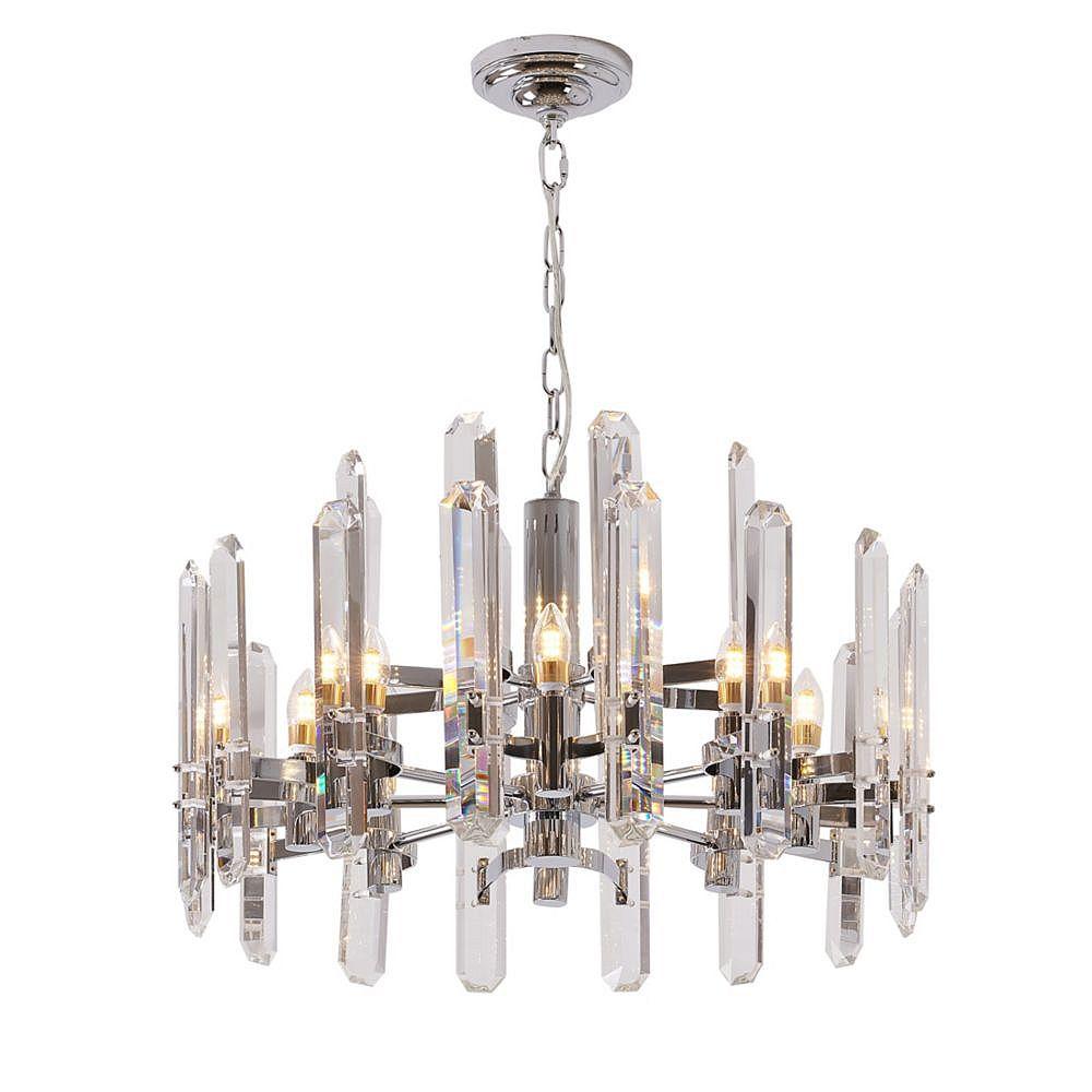 Living Design Lustre Chromé 12 Lumières Avec Plaques En Cristal Clair