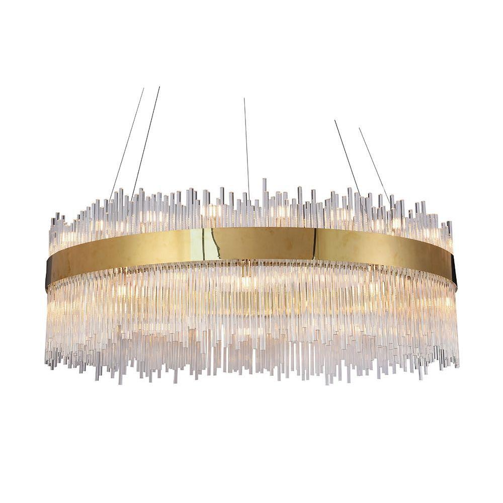 Living Design Lustre Circulaire En Acier Inoxydable Or Et Tiges De Verre Clair (18 Lumières)