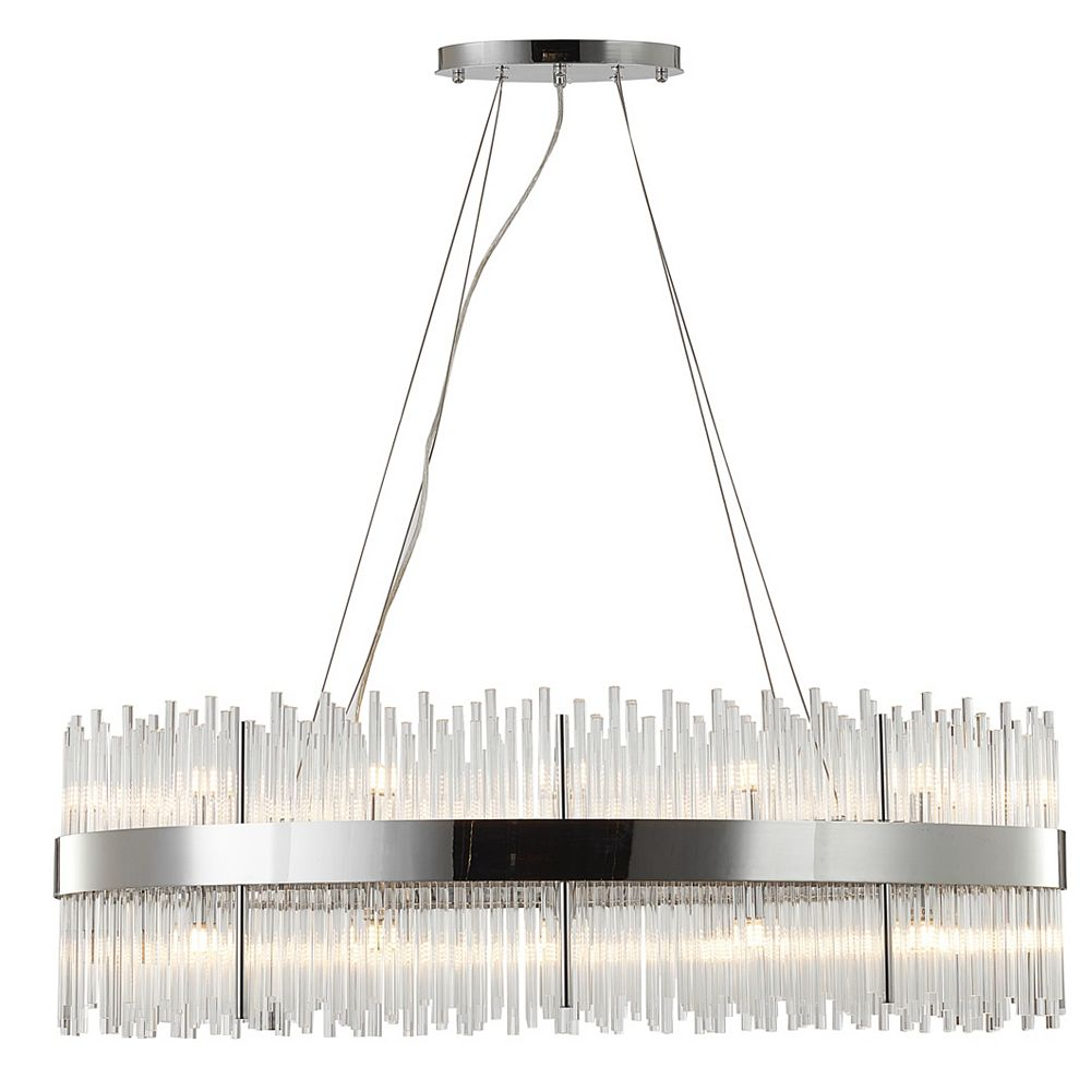 Living Design 24-Light Chrome Oval Stainless Steel Frame Chandelier With Clear Glass Rods