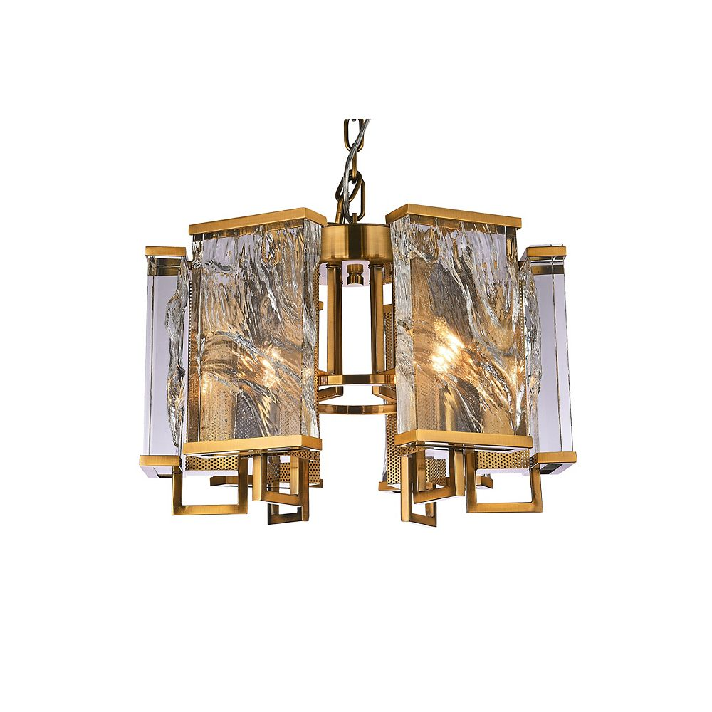 Living Design 6-Light Brass Chandelier With Clear Distorted Crystal Plaques