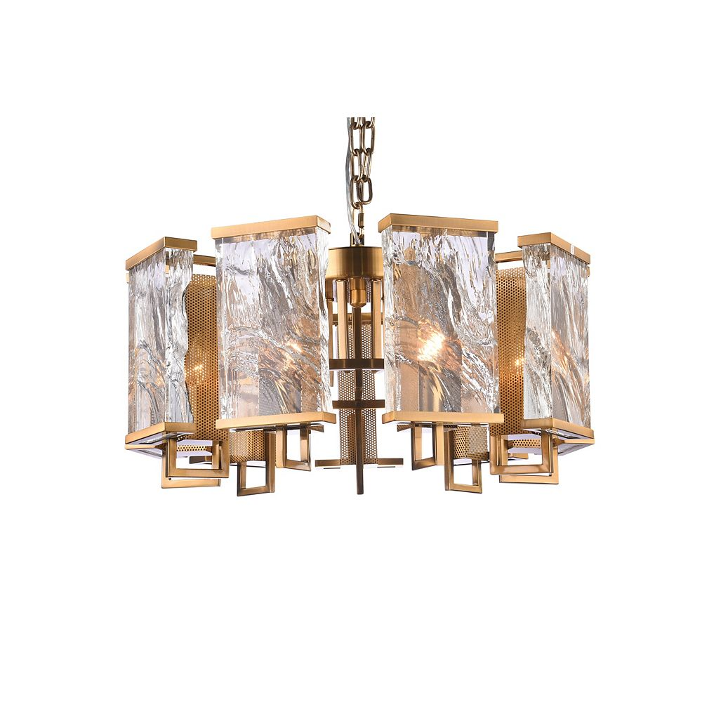 Living Design 9-Light Brass Chandelier With Clear Distorted Crystal Plaques