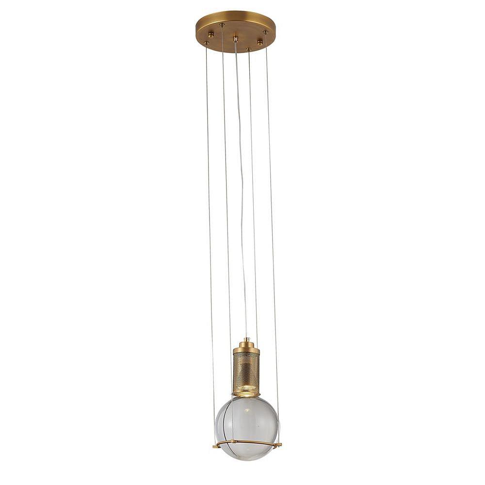 Living Design Luminaire Suspendu Simple En Métal Avec Fini Laiton Antique Et Boule De Cristal Clair (1 Lumière)