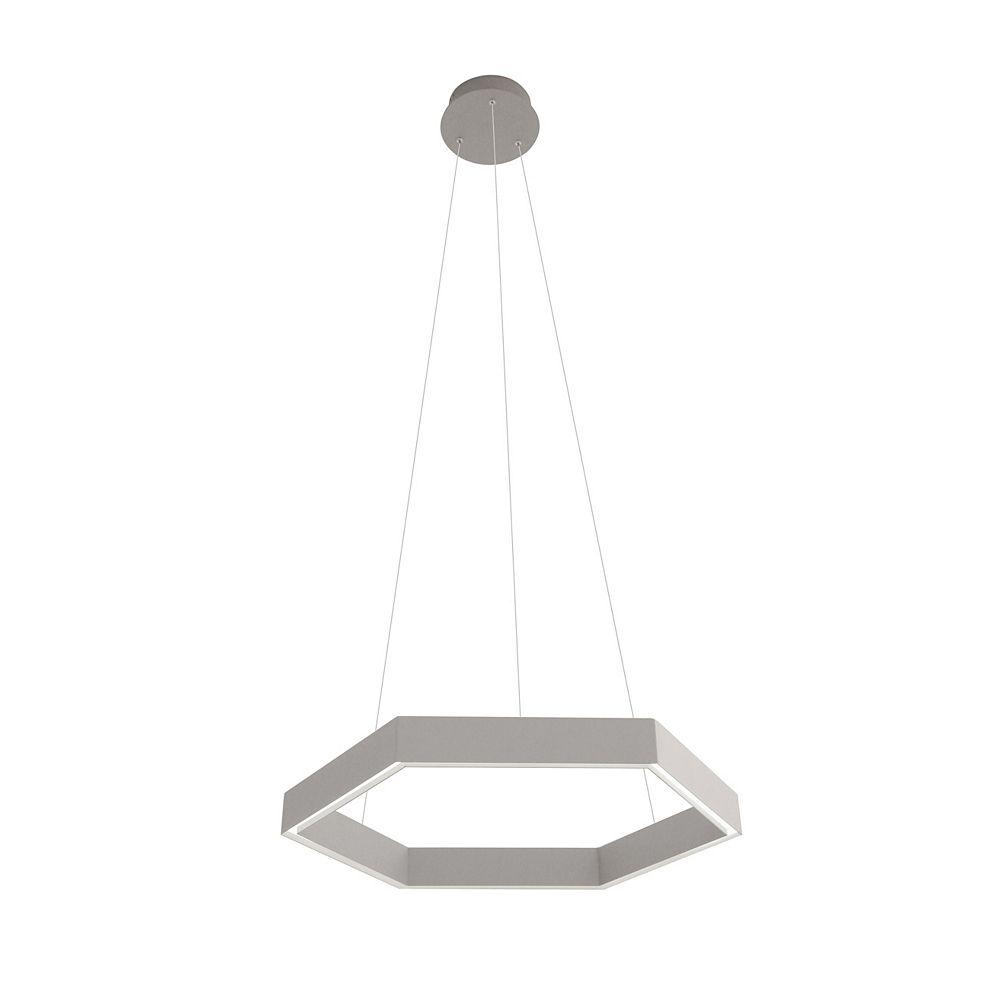 Living Design Lustre À Del Intégré Gris De 25,5 Pouces Avec Cadre En Métal Et Acrylique En Forme D'Octogon