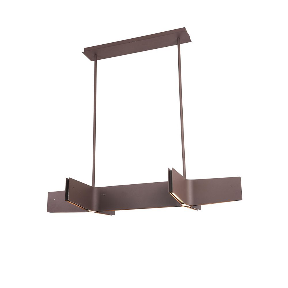 Living Design 48-inch Sand Coffee Integrated Led Chandelier With A Double Cross Frame