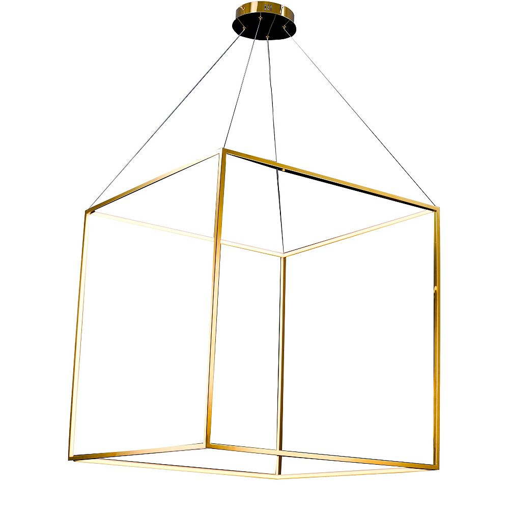 Living Design 35-inch Gold Integrated Led Chandelier With In A Stainless Steel Frame