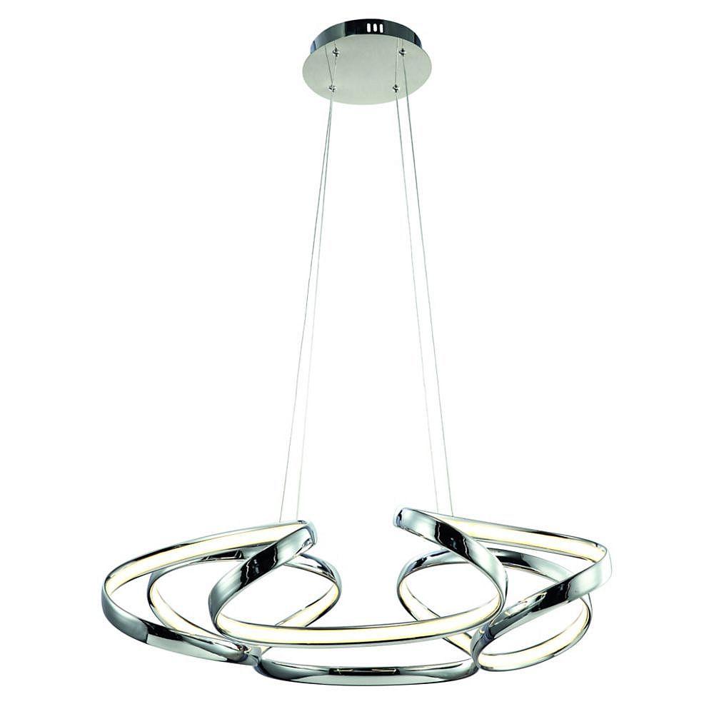 Living Design Lustre À Led Intégré Chromé De 27,6 Pouces Avec Un Cadre En Aluminium