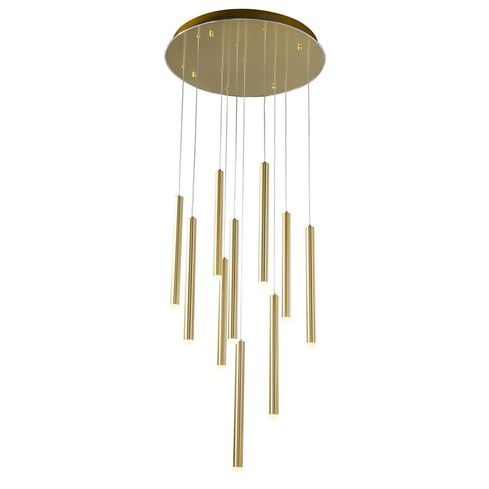 Living Design 23.6-inch Gold Integrated Led Chandelier With Frosted Acrylic Diffusers And Hanging Rods