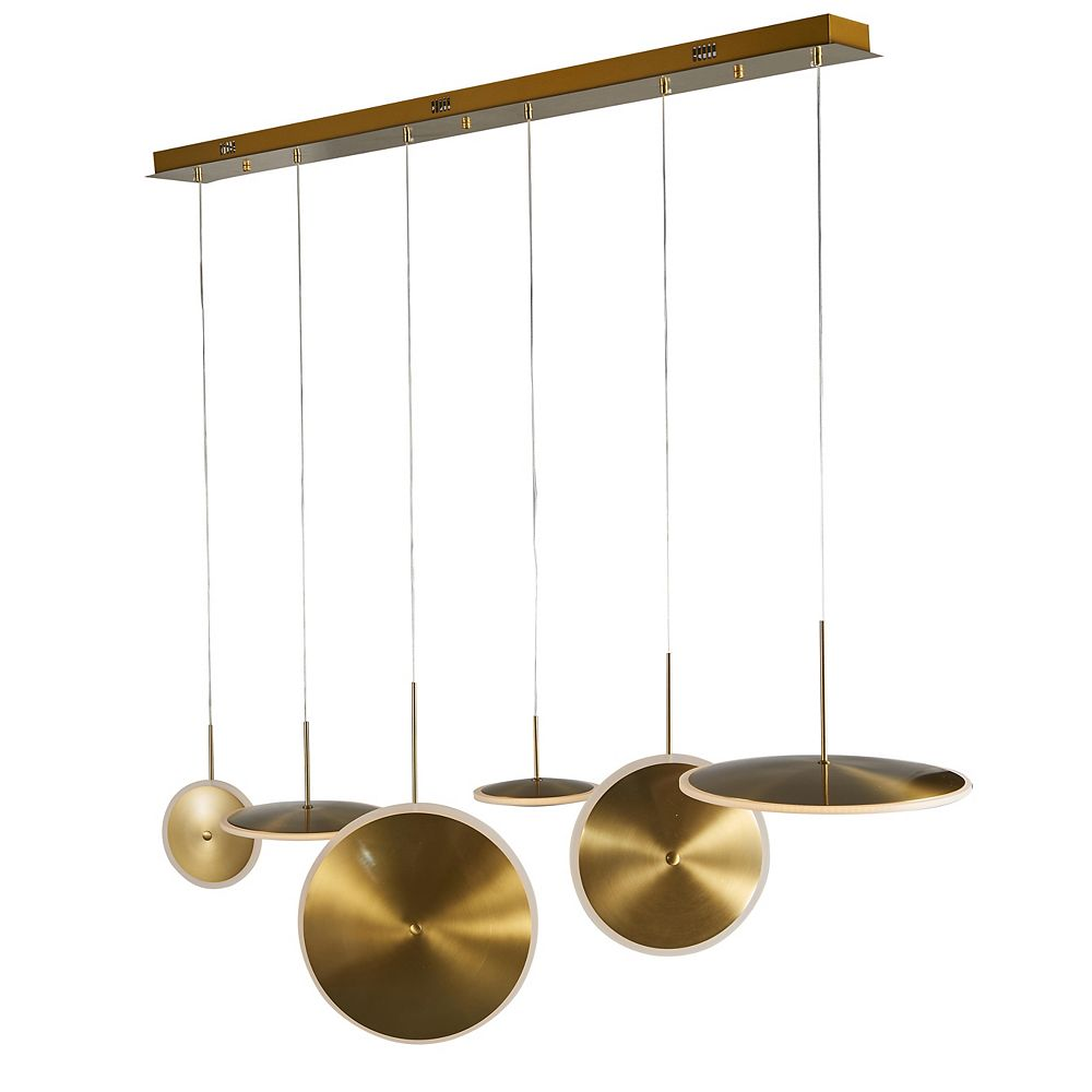 Living Design Lustre À Del Intégré Or À 6 Lumières Avec Six Lumières À Soucoupe À Del