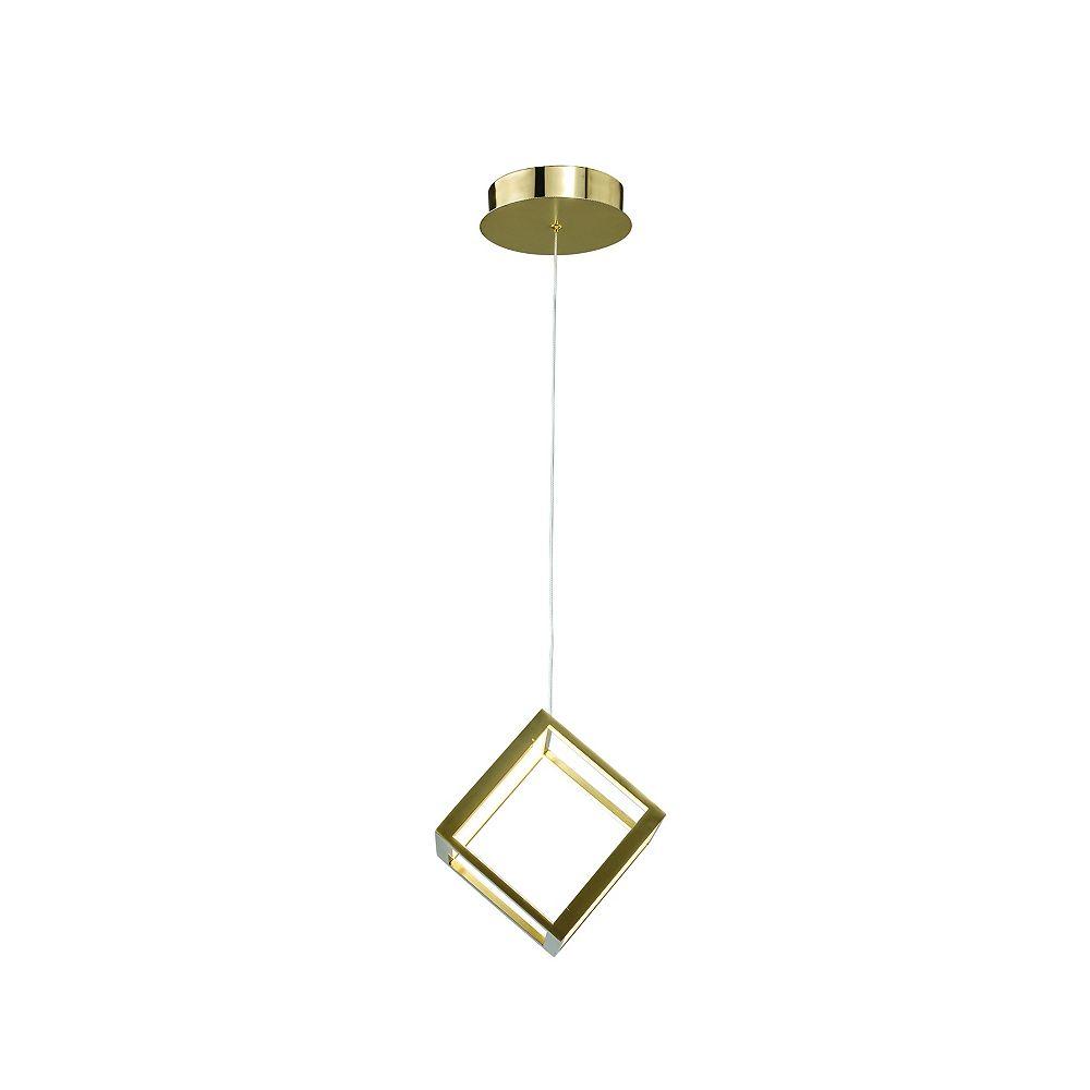 """Living Design Luminaire Suspendu Del Simple De 7.9"""" Or De Forme Cubique Avec Diffuseurs Acryliques Blancs"""