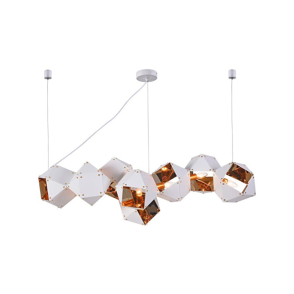 Living Design Lustre Blanc 8 Lumières Avec Bloc Géométrique Intérieur Réfléchissant En Or