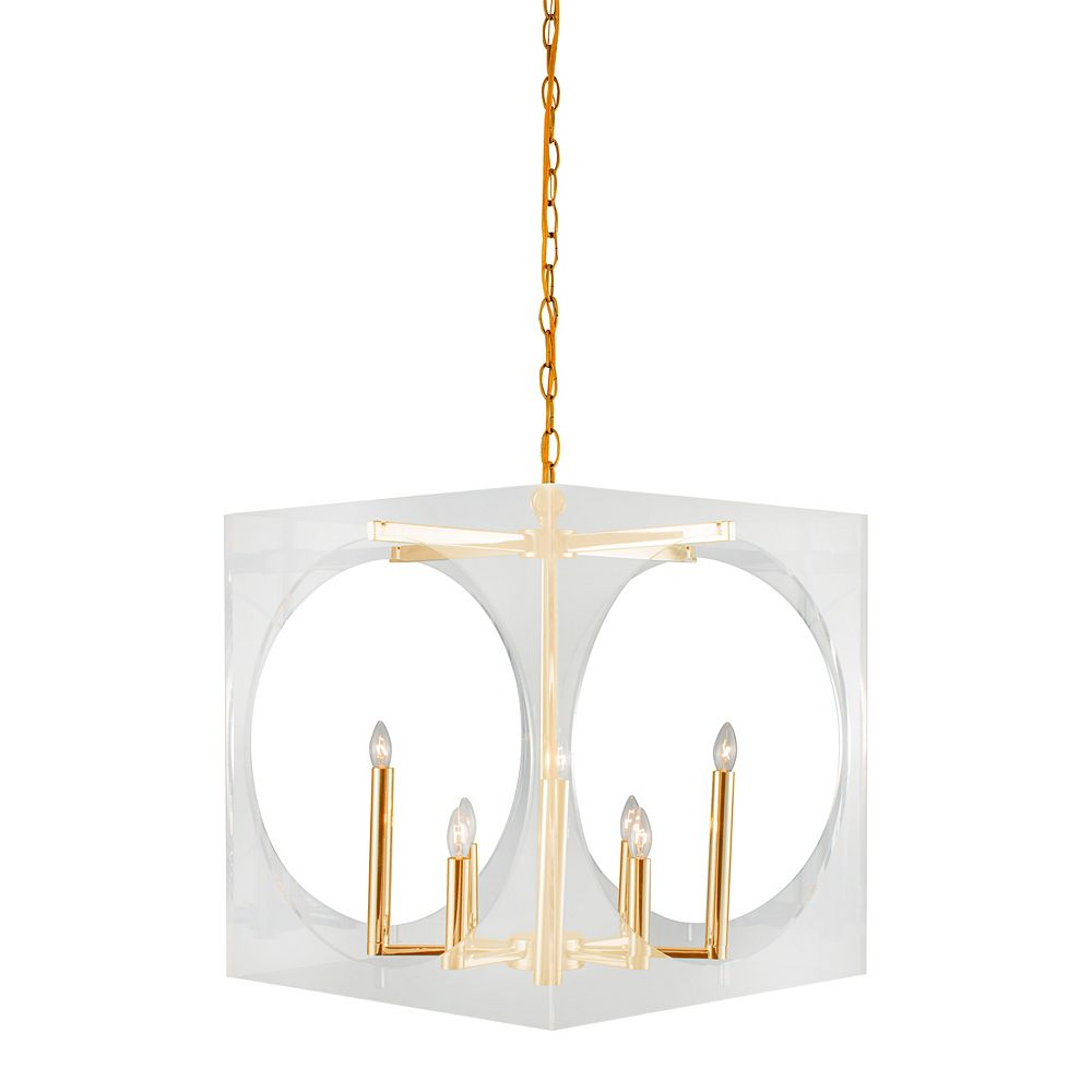 Living Design 8-Light Gold Chandelier With A Clear Acrylic Shade