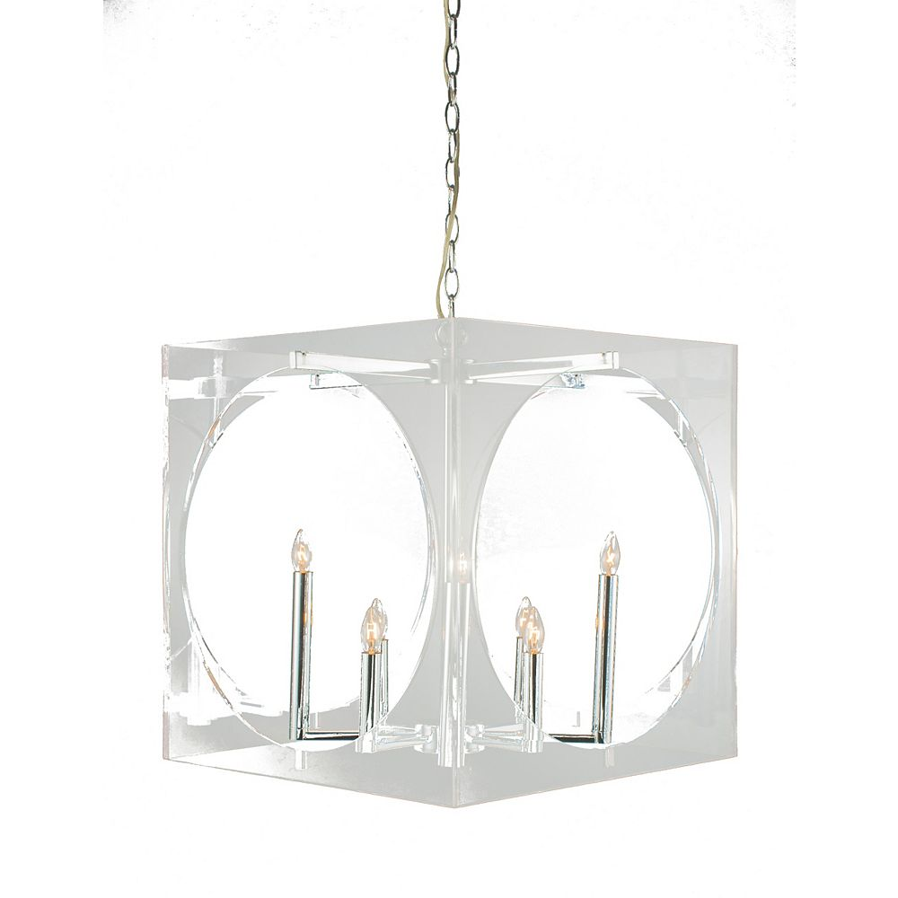 Living Design 8-Light Chrome Chandelier With A Clear Acrylic Frame And Round Open Hole