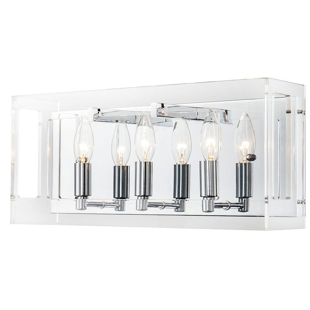 Living Design 3-Light Chrome Wall Sconce With A Clear Acrylic Rectangular Framed