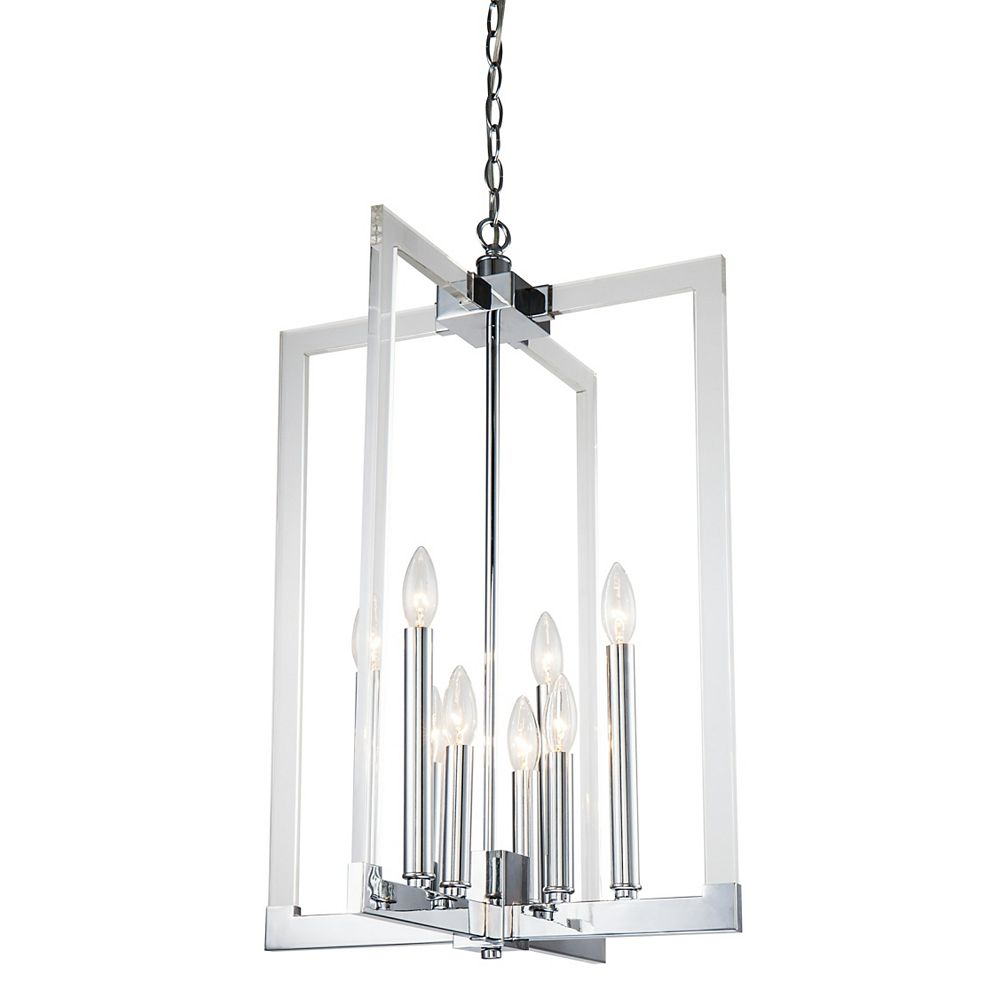 Living Design 7-Light Chrome Chandelier With Clear Acrylic Arms A Metal Frame