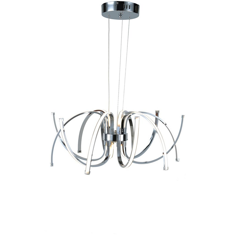 Living Design Lustre À Led Intégré Chromé 12 Lumières Avec Cadre En Aluminium