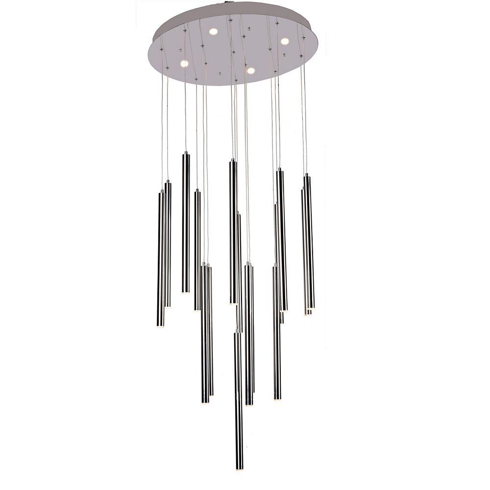 Living Design 16-Light Chrome Integrated Led Chandelier With Hanging Led Pendants