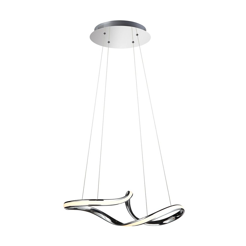 Living Design 23.6-inch Chrome Integrated Led Chandelier With A Twisted Frame