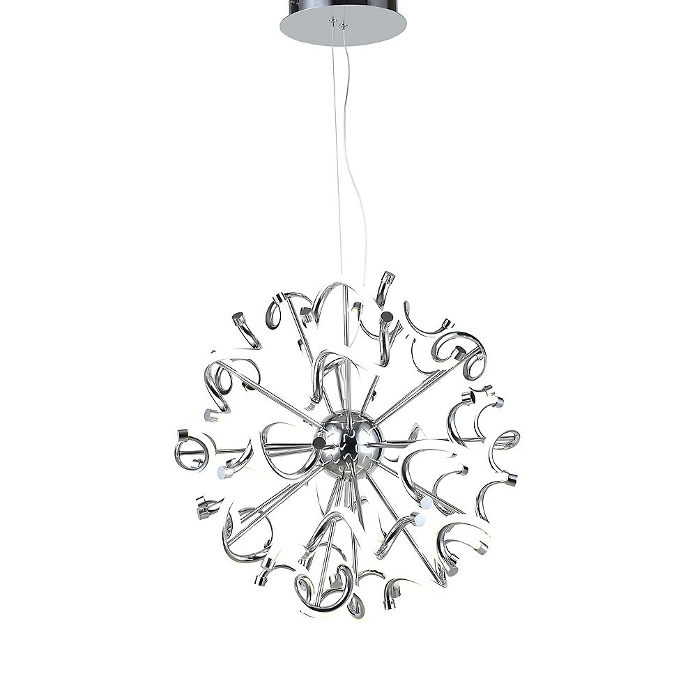 Living Design Lustre À Del Intégré Chromé De 15,75 Pouces Avec Orbe En Spirale