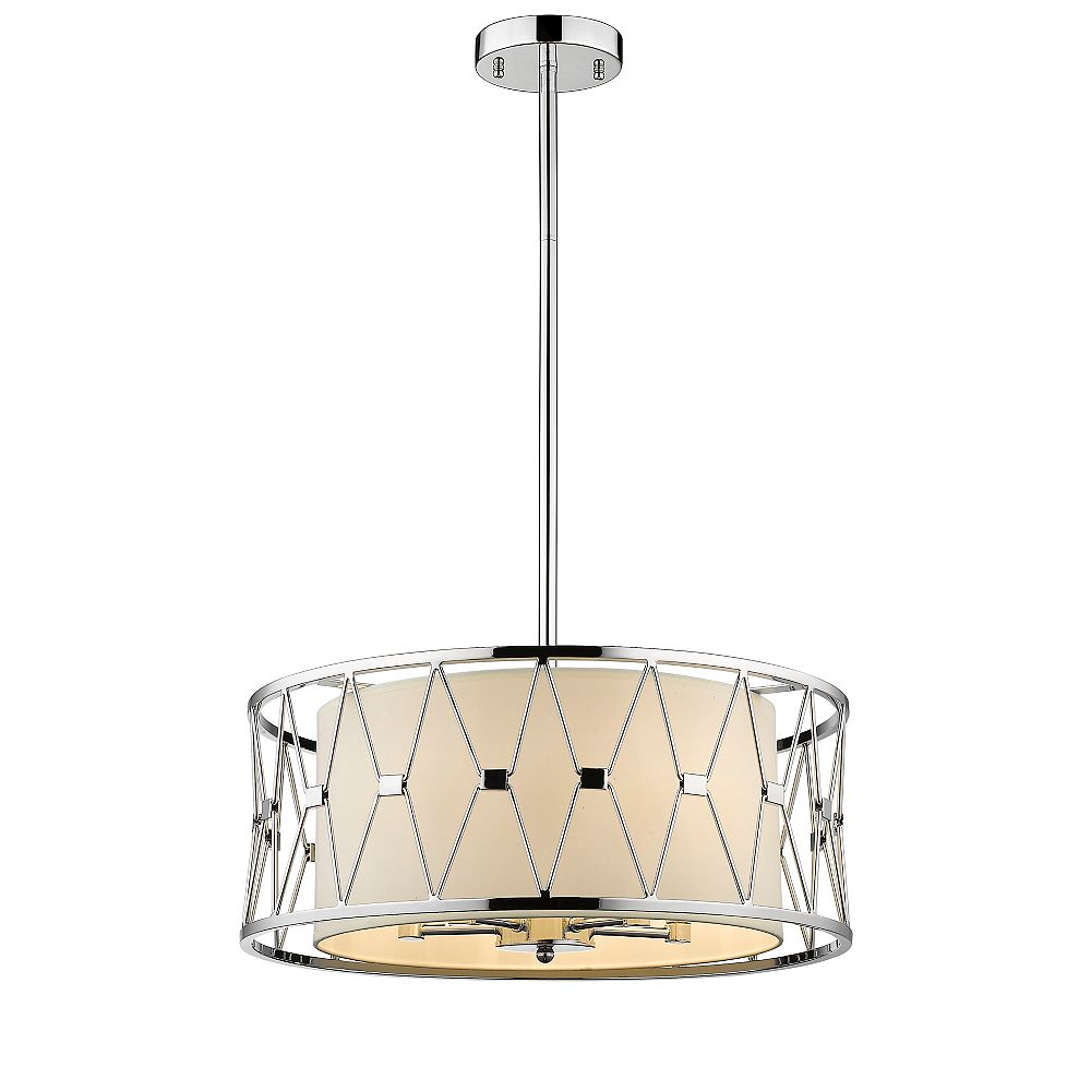 Living Design 5-Light Shiny Nickel Chandelier With A Beige Cylinder Shade