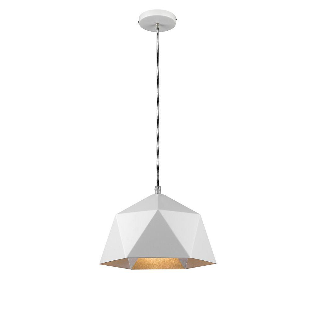 Living Design Pendentif Blanc 1 Lumière 10,2 Pouces Avec Abat-Jour En Métal