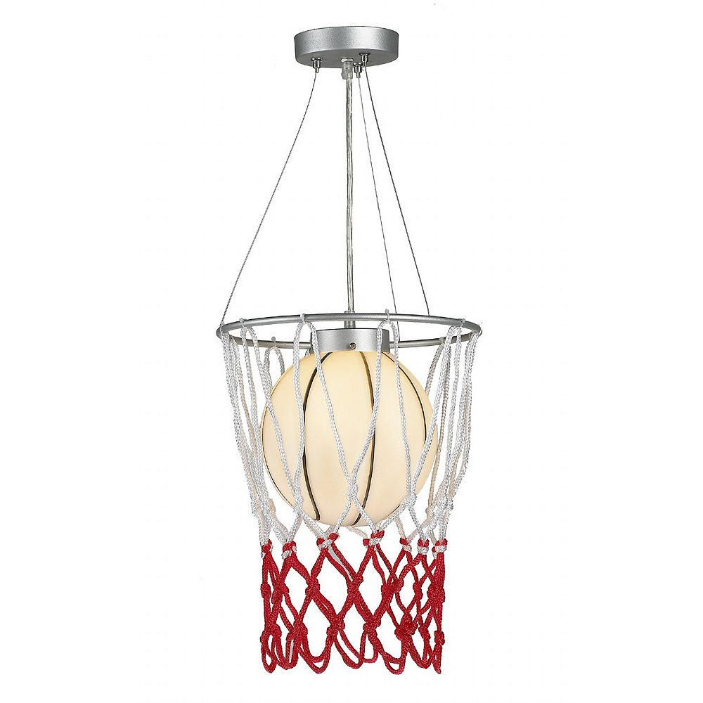 Living Design 1-Light White Basketball Pendant With A Red And White Mesh Net