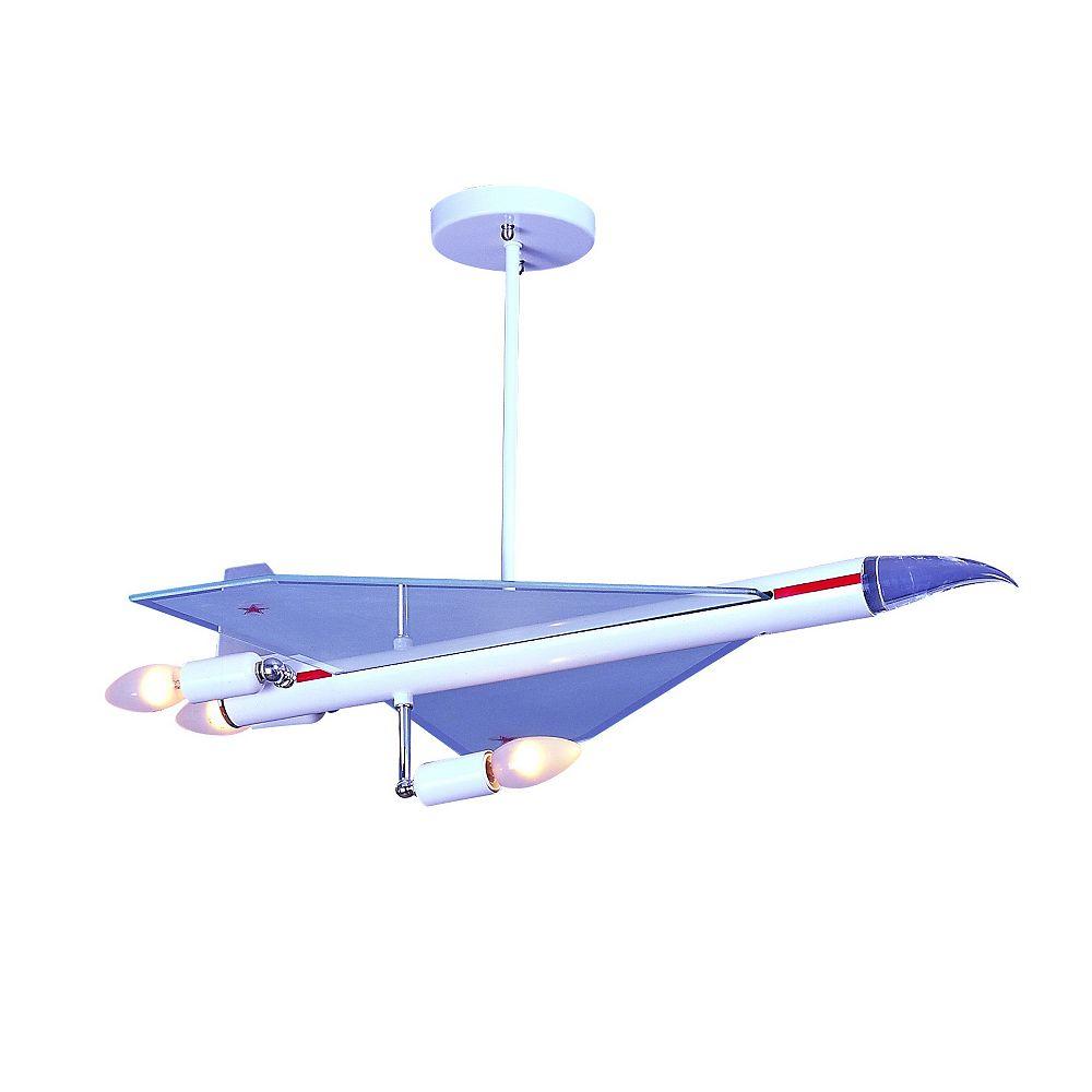 Living Design 3-Light White, Red, And Chrome Rocket Ship Pendant