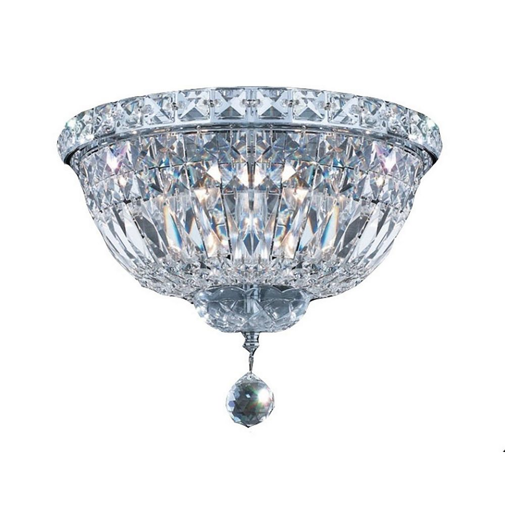 Living Design 3-Light Chrome Flush Mount With Clear Crystal