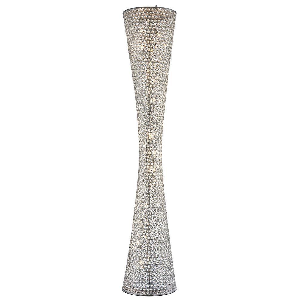 Living Design 79.5-inch 12-Light Chrome Floor Lamp With A Clear Crystal Beaded Frame