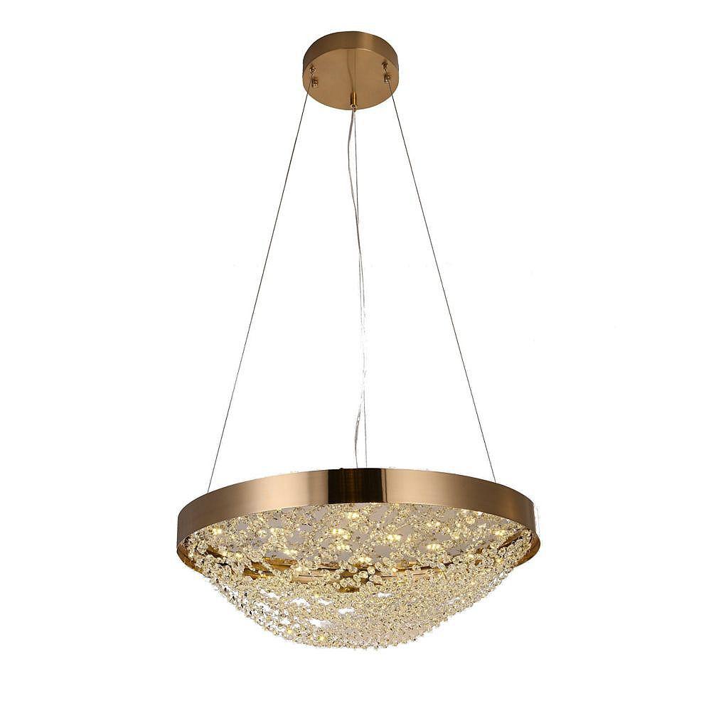 Living Design Lustre En Cuivre 18 Lumières Avec Panier De Perles De Cristal Clair