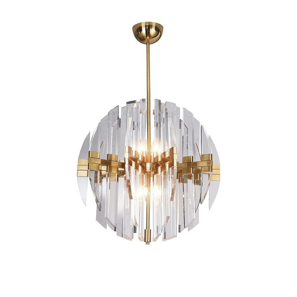Living Design Lustre En Cuivre 10 Lumières Avec Bras En Acrylique Transparent Et Cadre Orb