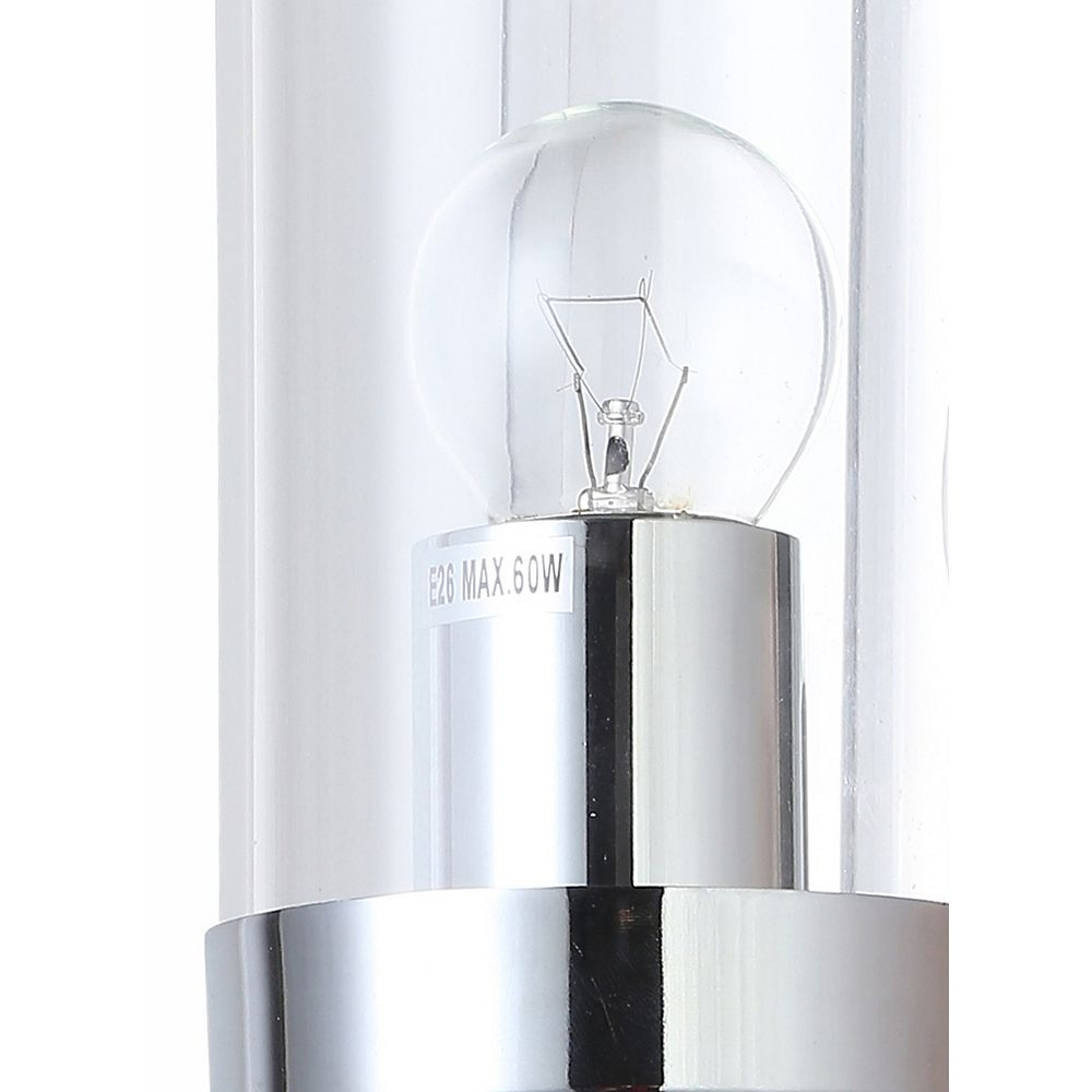 Living Design 1-Light Chrome Wall Sconce With A Clear Glass Cylinder Shade