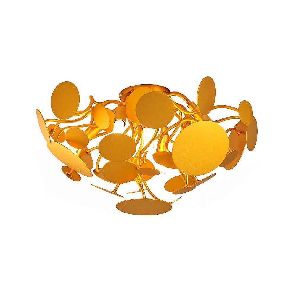 Living Design 8-Light Gold Flush Mount With Branch Arms And Leaf Petal