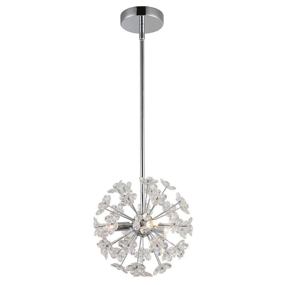 Living Design Pendentif Chromé À 3 Lumières Avec Fleurs Sputnik En Cristal Clair