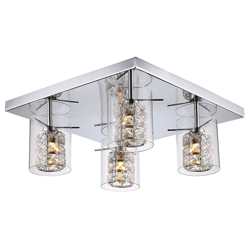 Living Design 4-Light Chrome Flush Mount With Clear Glass Covers And Clear Crystal Accents