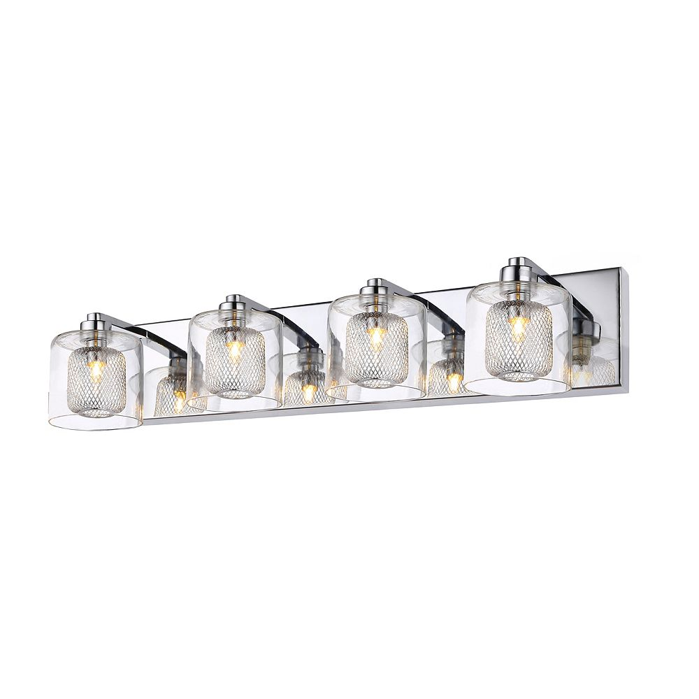 Living Design 4-Light Chrome Wall Sconce With A Mesh Metal Shade