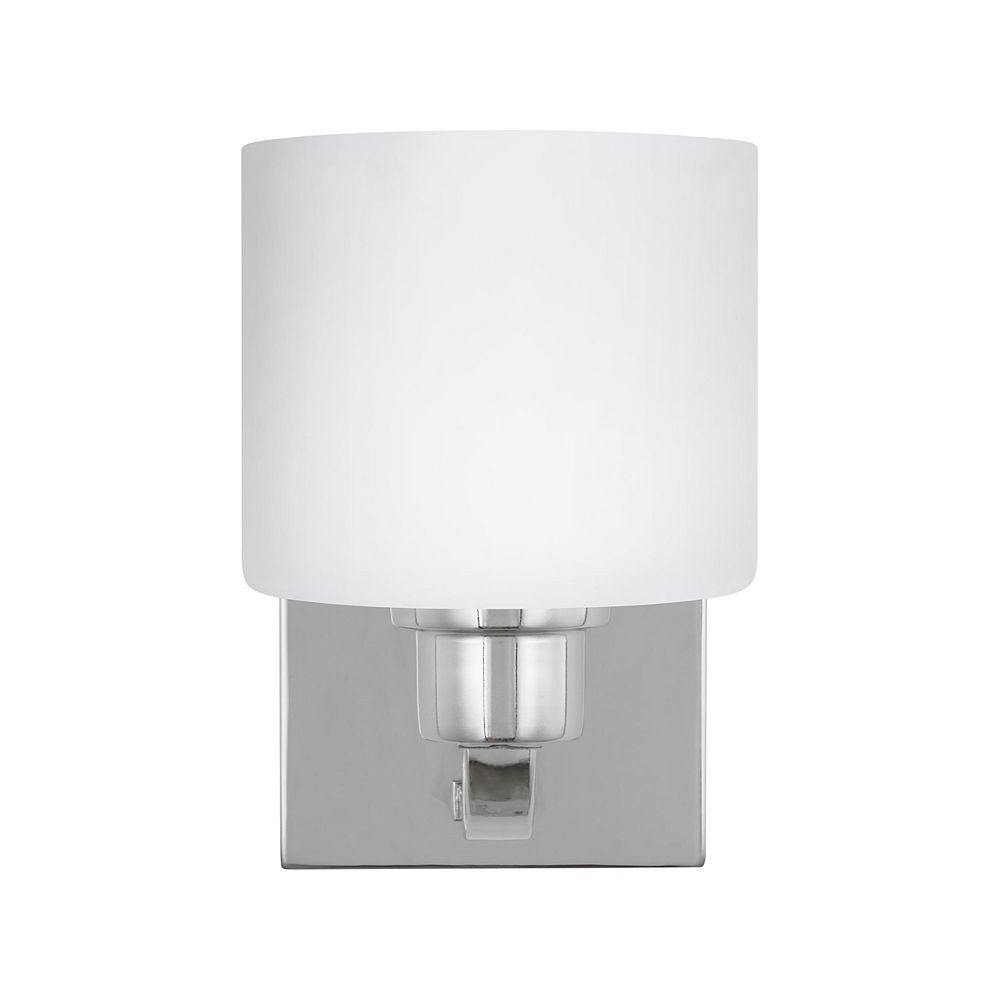 Sea Gull Lighting Canfield 100w 1-Light Chrome Wall / Bath Sconce with etched / white inside glass shade