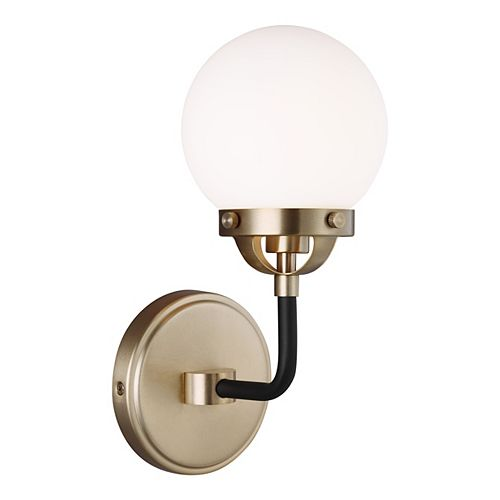 Cafe 60w 1-Light Satin Brass Wall Sconce  with etched / white inside glass shade